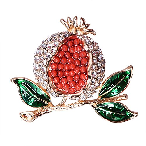 Pin Fruit Brooch (Dwcly Vivid Red Pomegranate Bling Crystal Brooch Corsage Lovely Green Leaves Brooch Enamel Fruit Pins)