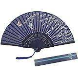 Kakoo Éventail pliant en soie et bambou de style japonais Sakura avec motifs de papillons