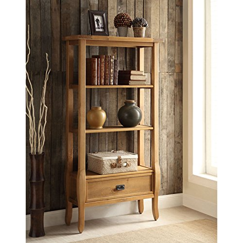 Bookcase/ Bookshelves, Traditional Walker Antique Pine Brown Finish Bookcase - Assembly Required OSLN1535. 32.01 in Wide x 12.52 in Deep x 60 in High