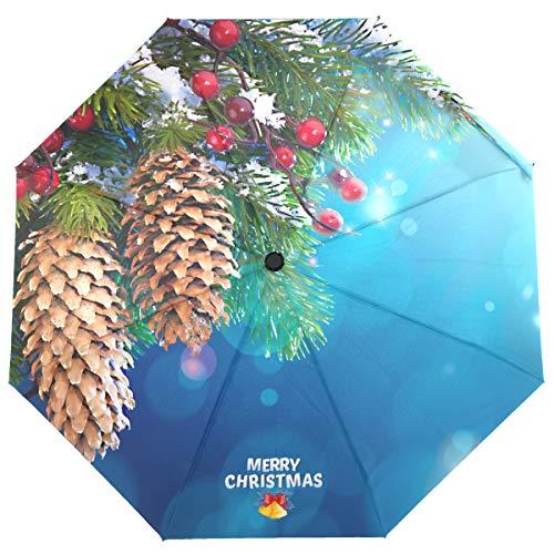 New Susino Merry Christmas Pine Cones Travel Umbrella Windproof Compact Semi-Automatic Auto Open Manual Close Umbrellas for Rain Women Men Family Friend Festival Gift Present