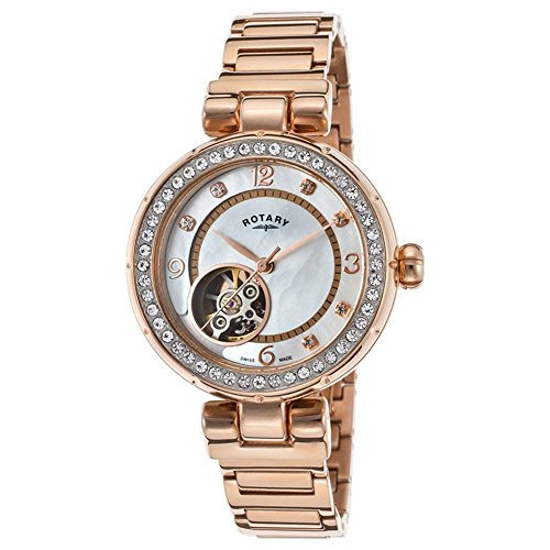 Rotary Lb002-A-41 Women's Auto Rose-Tone Stainless Steel Mop Dial Rose-Tone Ss Watch