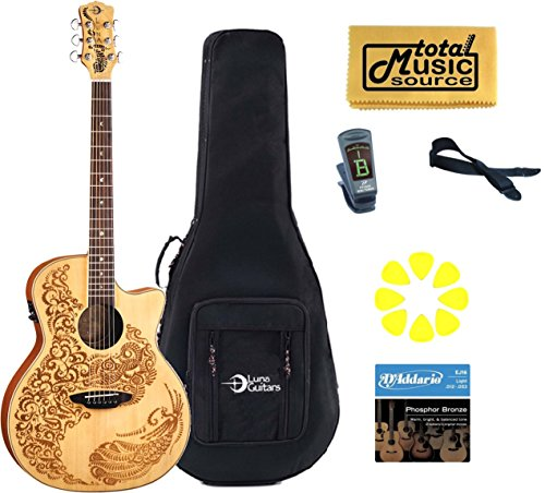 LUNA Henna Oasis Spruce Acoustic Electric Guitar, NEW HEN 02 (Luna Guitars Henna Oasis)