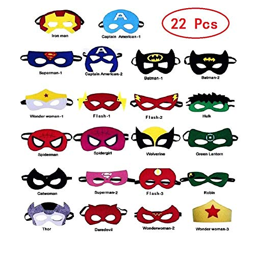 Uxinhu Superhero Masks, Superhero Party Masks Halloween Christmas Costumes Masks for Kids Party Supplies Favors 22 Pieces