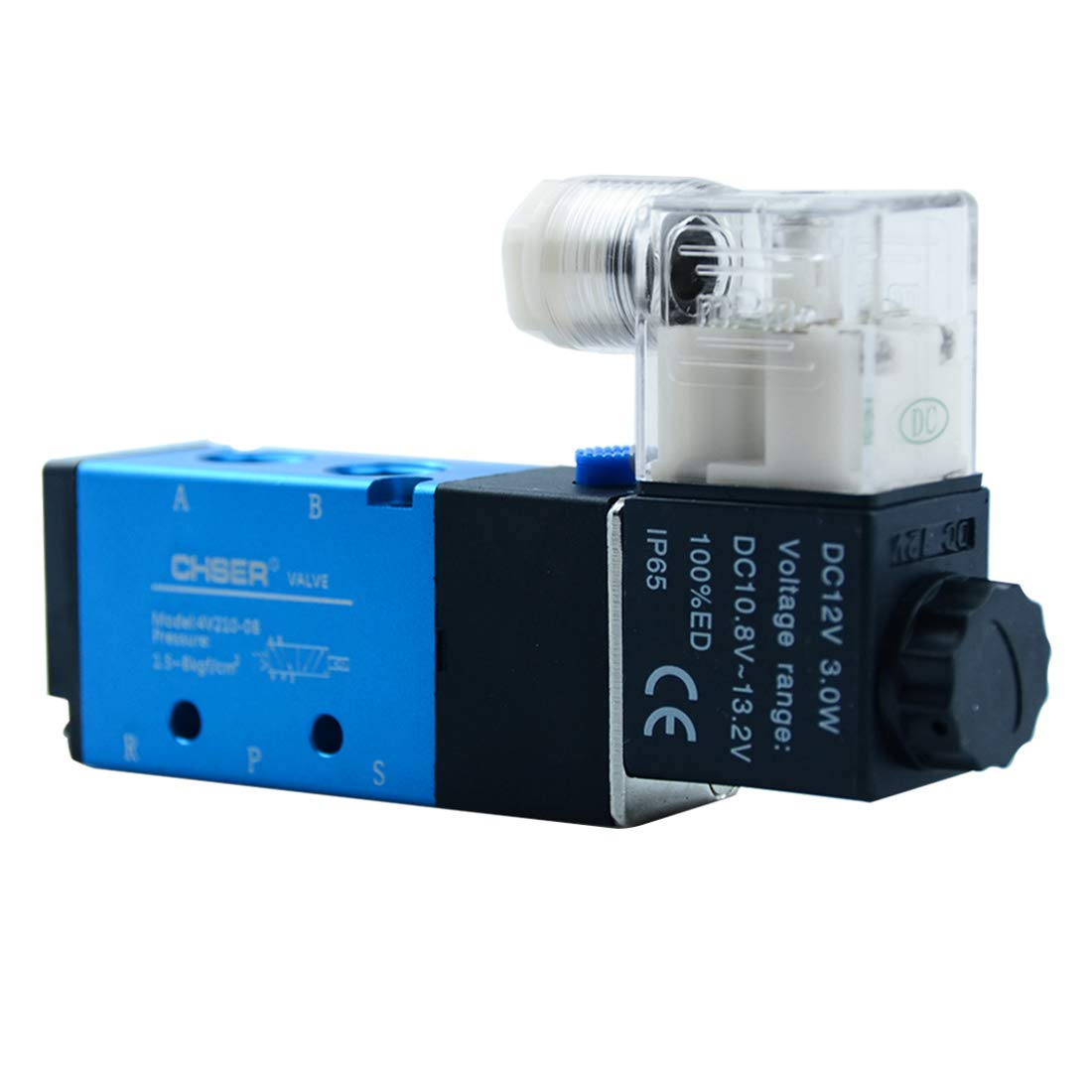 Quickun DC 12V 1/4'' Solenoid Valve 5 Way 2 Position Inlet Single Coil Pneumatic Air Control Electric Valve 4V210-08 by Quickun