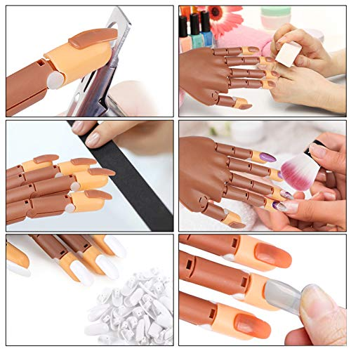 Practice Hand for Acrylic Nails-Flexible Moveable Nail Trainning Practice Hand Kits,False Fake Mannequin Hands For Nails Practice DIY Print Practice Tool with Fake Nail Tips,Nail Files and Clipper