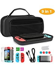 TKOOFN Case & Accessories 9 in 1 Kit for Nintendo Switch Black