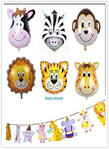 King's Store Party Supplies 7 pcs Aluminum foil balloon animals 15 psc Animal - King Stores