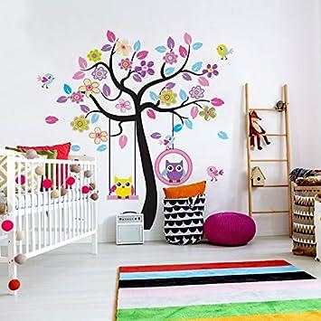 Wandora W1464 Wandtattoo Kinderzimmer XXL Premium Set Baum Schloss Feen  Baby Kinder Set 1