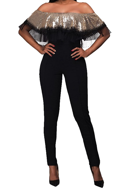 Fixmatti Women Sequin Decor Strapless Tube High Waist Skinny Jumpsuit Romper