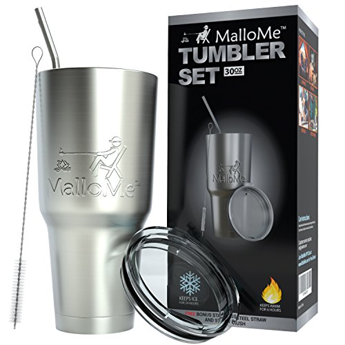 MalloMe Tumbler 30 oz. Double Wall Stainless Steel Vacuum Insulated - Travel Mug [Crystal Clear Lid] Water Coffee Cup [Straw Included] For Home,Office,School - Works Great for Ice Drink, Hot Beverage by MalloMe