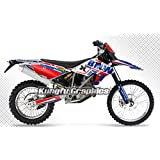 Kungfu Graphics Complete Decal Kit, Customized with Race Number and Rider ID, Blue Red White, for 2009 2010 2011 2012 BMW G 450X