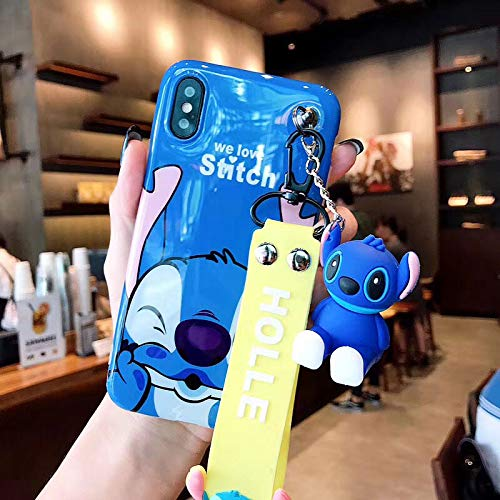 Twinlight Cute Stitch Pooh Pig Mickey Minnie Mouse Hello Kitty Phone Cases for iPhone 7 8 Plus XS MAX XR X Cartoon Case+ Toy +Strap (Style6, for iPhone Xs Max)