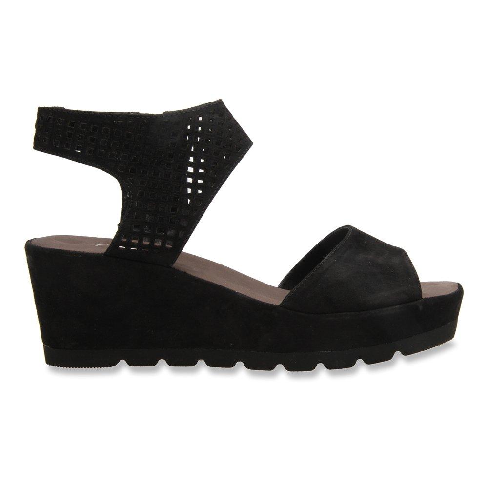 Gabor Women's 45-741 Perforated Strap Wedge Sandal B014Q891ZG 5.5 F(M) UK / 8 B(M) US|Schwarz Samtchevreau