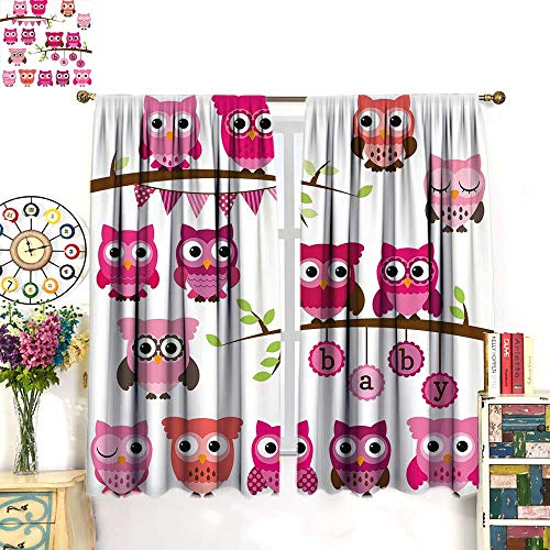 Anniutwo Nursery Blackout Curtain Girl Baby Shower Themed Owls and Branches Adorable Cartoon Animal Characters Customized Curtains Purple Pink Brown W72 x L84 inch ()