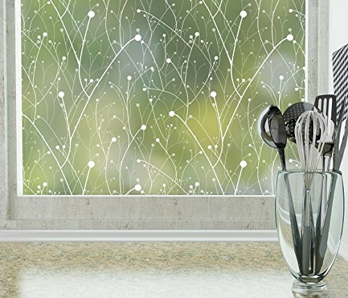 StickPretty Willow Privacy Window Film - UV Protection and Heat Control - Static Window Cling For Office Home Bathroom Kitchen Glass Door - Non-Adhesive 18