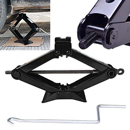 Autofu Rust-Proof Steel Scissor Jack 2 Tonne Ton Wind Up Lift Floor Jacks for Van Car with Crank Speed Handle