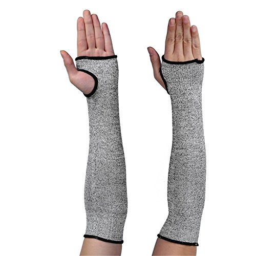 (Cut Resistant Sleeves - HPPE Cut-Resistant Sleeve With Thumbhole| Knit Sleeves Level 5 Protection Slash Resistant Sleeves| Protective Arm Sleeve Wrist Guard Glove for Clambing Hunting kitchen Garden)