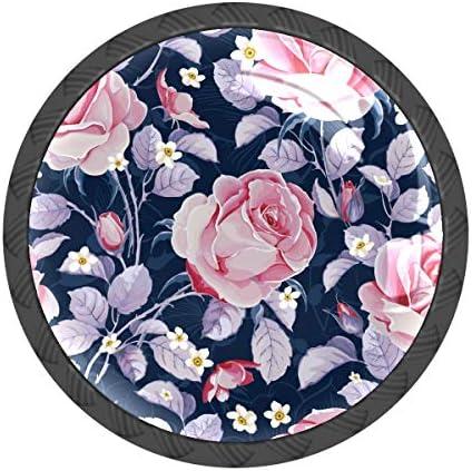 取っ手 引き出しハンドル バラ ピンク おしゃれ 把手 家具ハード 食器棚ワード ワードローブ 耐久性 飾り 4個セット 収納ケース付き