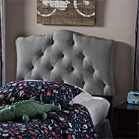 Baxton Studio Rita Modern And Contemporary Fabric Upholstered Button-Tufted Scalloped Headboard Grey/Twin/Contemporary