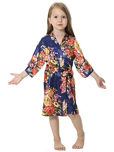 42c17e8f2af Galleon - JOYTTON Girl s Satin Floral Kimono Bathrobe Flower Girl Robe  (14