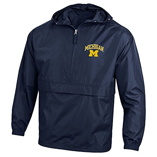 Elite Fan Shop Michigan Wolverines Packable Jacket Navy - L