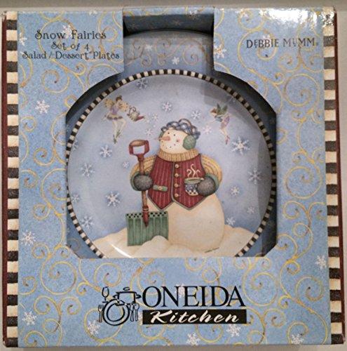 Oneida Snow (Oneida Kitchen Snow Fairies Debbie Mumm Set of 4 Salad/dessert Plates)