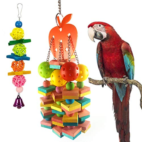 Parrot Cage Toys, Natural Colorful Knots Block Rattan Balls and Loofah Sponge Plant Fibre Bird Chewing Toys Wooden Large…