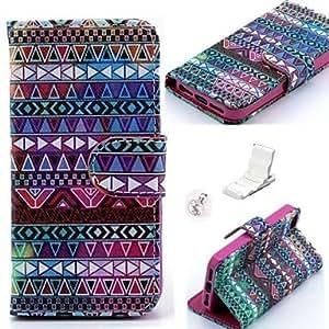 GONGXI-Caso Winky líneas tribales patrón pu cuero y mini soporte de exhibición con el enchufe del polvo de diamante para el iphone 5 / 5s