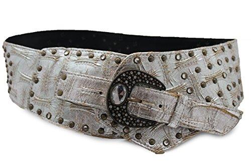 Leather Hip Belt (TFJ Women's Wide Western Fashion Belt Hip Waist Faux Leather L Metallic)