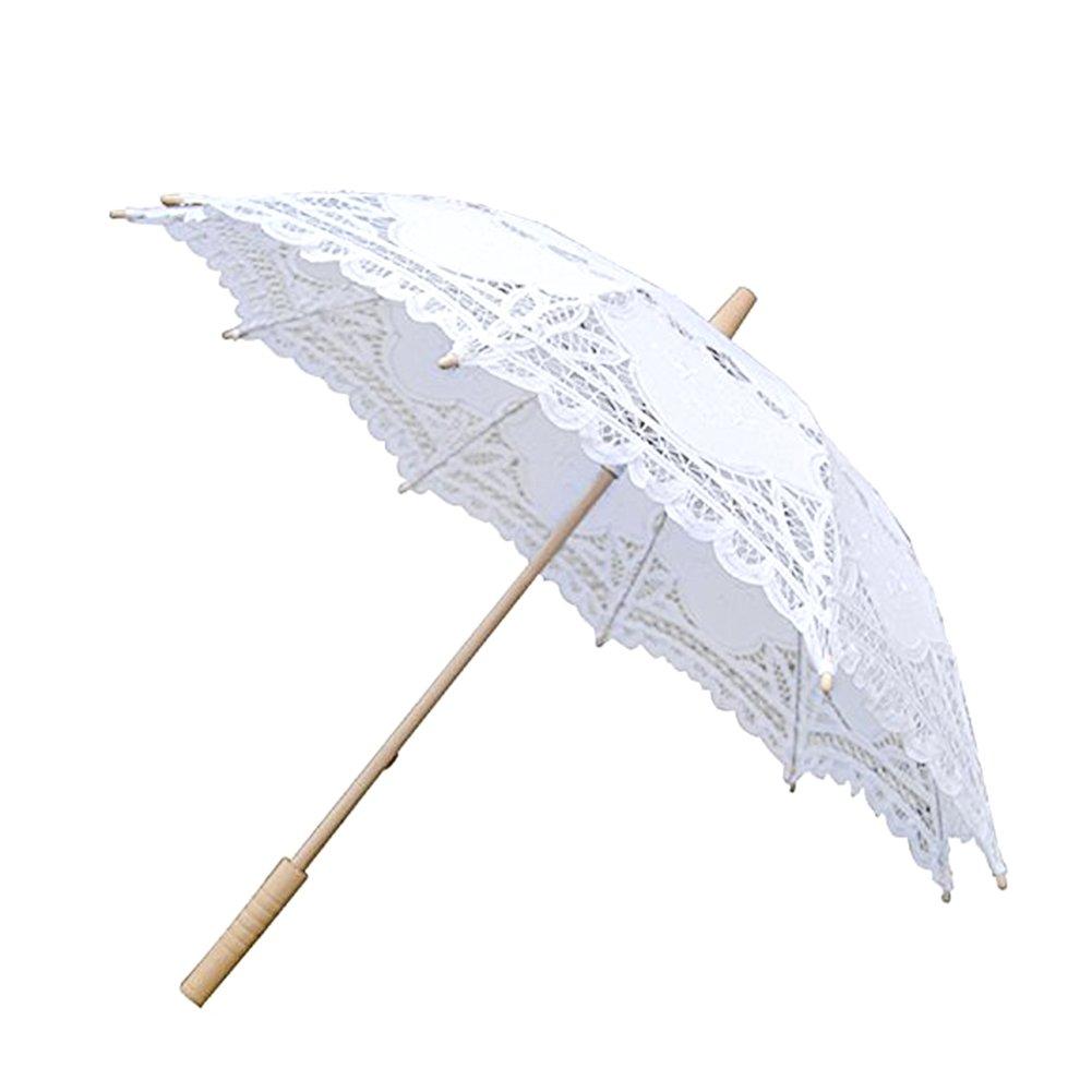 European Style Cutout Wedding Umbrella Handmade Lace Parasol Umbrella Custom-made Gift Umbrella (Black)