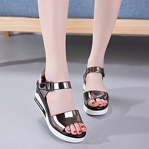Xing Lin Sandalias De Cuero Boca De Pescado Plataforma Impermeable Cuñas Sandalias Verano Mujer Zapatos Nuevos Salvajes Con Tacones Altos De Fondo Plano. Gun color 0138
