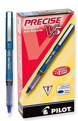 - Precise V5 Roller Ball Stick Pen, Needle Pt, Blue Ink, 0.5mm Extra Fine, Dozen