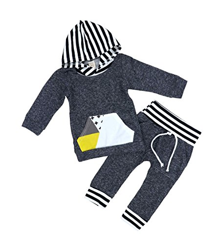 2Pcs Toddler Infant Baby Boy Long Sleeve Hoodie Sweatshirt Pants Outfit Set(3-6Months)