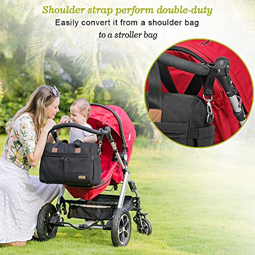 Diaper Bag, RUVALINO Large Travel Diaper Tote Multifunction for Mom and Dad Convertible Baby Bag for Boys and Girls with Changing Pad, Insulated Pockets (Dark Gray)