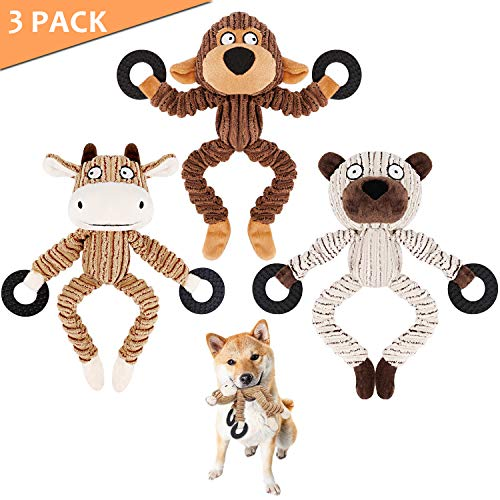 Dog Squeaky Chew Toys Durable 3 Pack Toys Set for Puppy Small Medium Large Dogs Playing Making Fun- Monkey, Bear and Bull ()