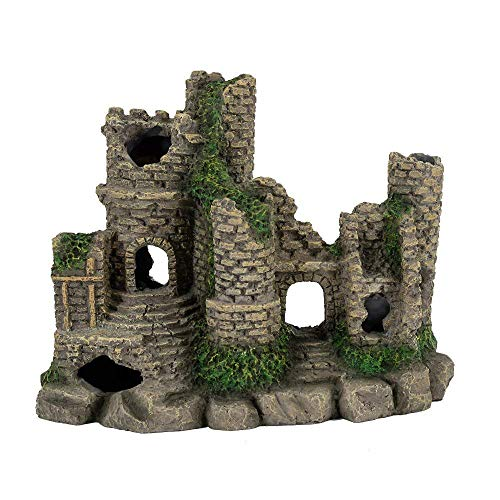 Hygger Castle Ruin Fish Tank Decoration Poly Resin Small Aquarium Ornament Betta Fish Accessories 6.8''