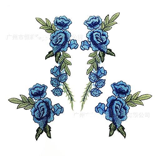 2pcs/Set Blue Rose Applique Embroidery Flower Patches For Clothing Appliques Flores Sewing Flower Patches (Flower Patch Blue)