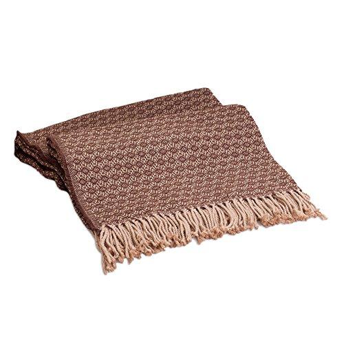 Alpaca Wool Throw (NOVICA Alpaca Wool Blend Throw Blanket, 'Cocoa and Cream', Handmade in Peru)