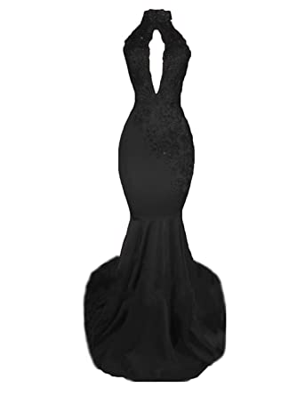 e7490cc90d0 Z Sexy High Neck Long Mermaid Prom Dresses Backless Beaded Appliques Lace  Evening Dresses