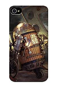 For Iphone Case, High Quality Art Star Wars Steampunk Robot R2d2 Smoke Pipes Movies Futuristic For Iphone 4/4s Cover Cases / Nice Case For Lovers Kimberly Kurzendoerfer