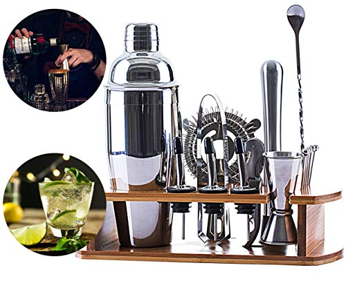 VINEALLEY 16-Piece Bartender Kit with Bamboo Stand 24 oz Stainless Steel Cocktail Shaker Set Home Bar Tools Set with All Bar Accessories, Double Jigger, Strainer, Muddler, Bar Spoon, Drink Mixer Set