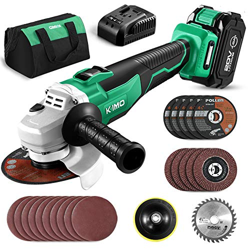 KIMO 20V Brushless Cordless Angle Grinder, 4-1 2 Inch, 9000RPM w 4.0Ah Lithium-Ion Battery Fast Charger, 2-Position Adjustable Auxiliary Handle, Electric Brake, 5 Cutting Wheels, 5 Grinding Wheels