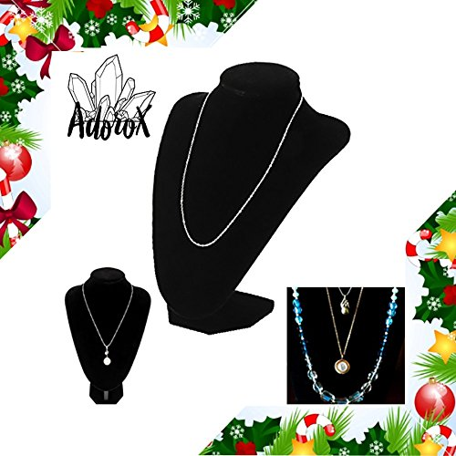 Adorox Black Velvet Necklace Pendant Chain Jewelry Bust Display Holder Stand