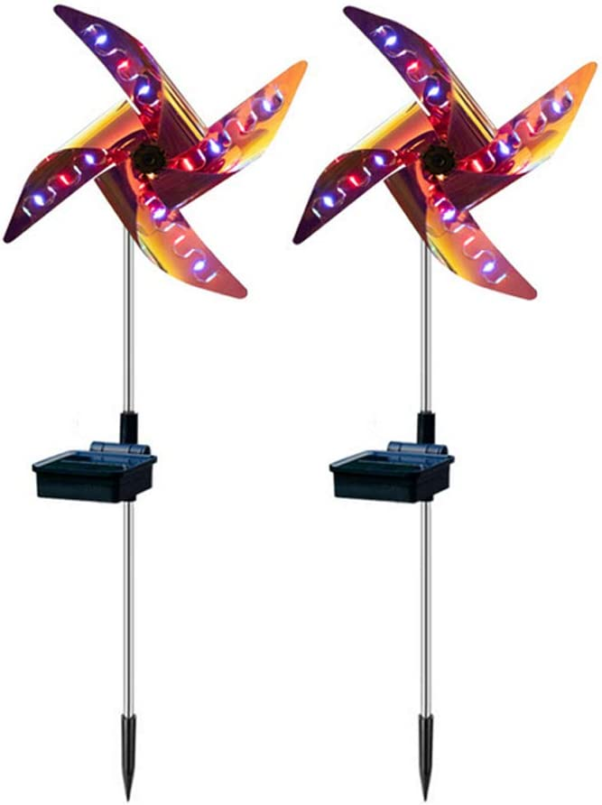 Windmill Garden Lights Solar Garden Ornaments Solar Windmill Pinwheel Lamp with 32 Led Four-Colored Lights for Outdoor Lawn Yard Landscape Party Decor 2 Pcs