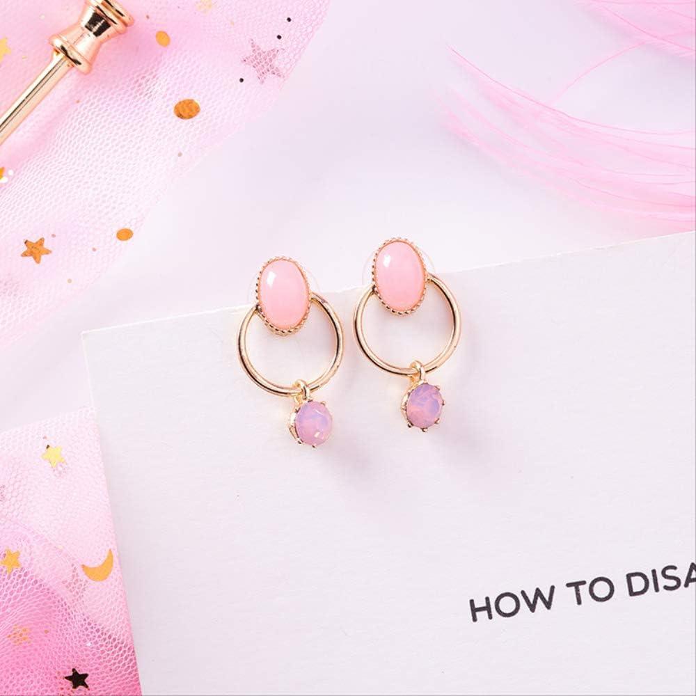 925 Aguja de plata Ópalo japonés Pendientes pequeños Pendientes de flores de perlas con diamantes de imitación de piedras preciosas