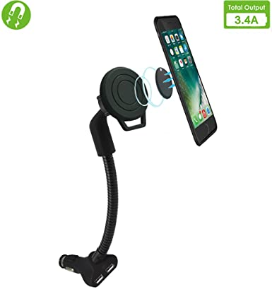 Gooseneck Cell Phone Holder for Car, AIRENA Car Phone Mount with 3.4A Dual USB Charging Ports for iPhoneXS XS Max XR X 8 7 6s 6 5s Samsung Note 9 8 7 ...
