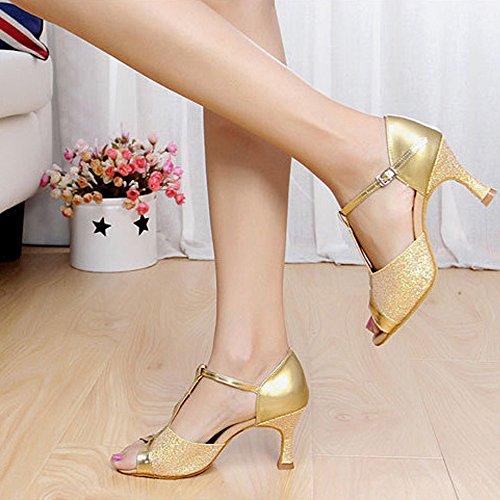 Alto Gold Mujer Salón de XFentech Puro Color Baile Latino Zapatos Toe Baile de Tacón de Peep Lentejuelas wxZ1aPxq4