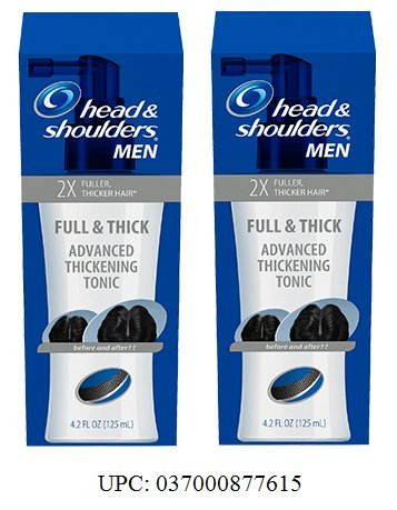 Head & Shoulders, Full & Thick Advanced Thickening Tonic For Men. 2X Fuller, Thicker Hair, 4.2 Oz. Pack of 2.