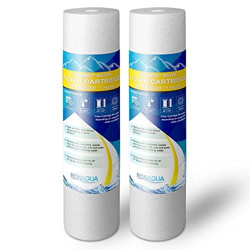 Ronaqua 2S1M-20BB 1 Micron 20-Inch Big Blue Whole House Water Filter Sediment, ()