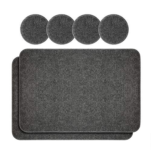 Qyoubi Felt Table Placemats Set of 2 and Coasters Dining Set of 4, Anti Skid and Heat Resistant, Washable, Furniture Protection, for Kitchen Table, Coffee Table and Office Space, 17.1 x 11.8 Inches ()